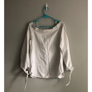 J.O.A. White Off the Shoulder Tie Sleeve Top